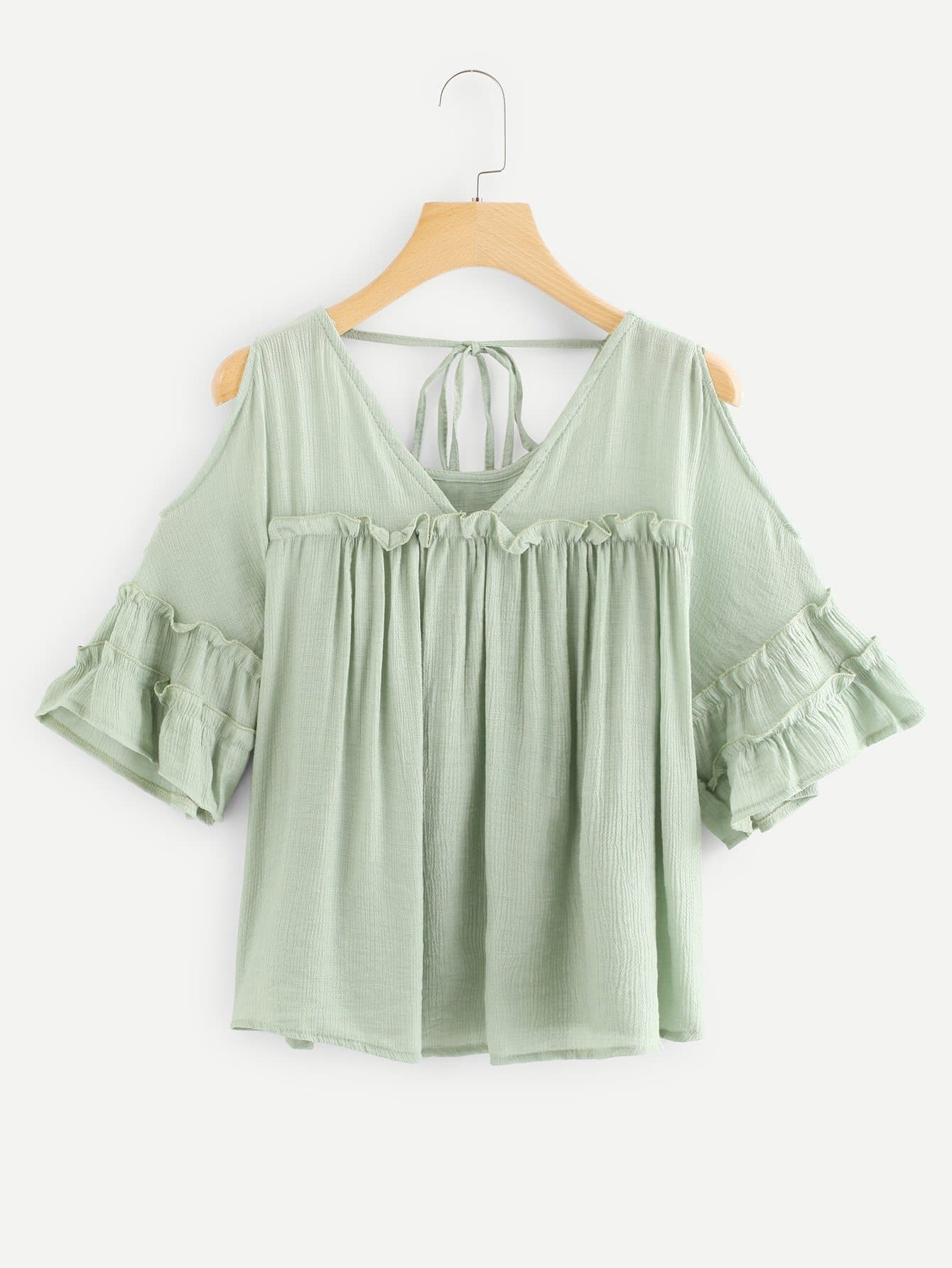 Open Shoulder Tie Back Ruffle Blouse open shoulder fishnet insert lace ruffle blouse