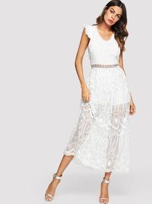 Lace Crochet Contrast Backless Dress