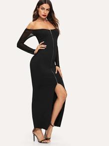 Off Shoulder Split Zip Front Dress