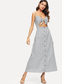 Bow Front Cut Out Stripe Cami Dress
