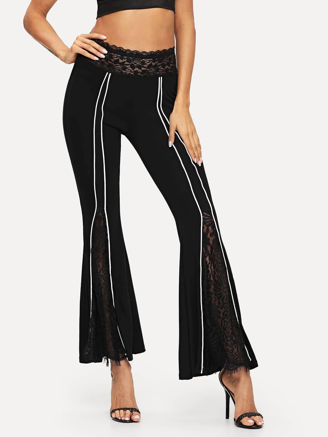 Lace Contrast Flare Leg Pants
