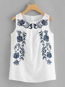 Floral Embroidered Tank Top