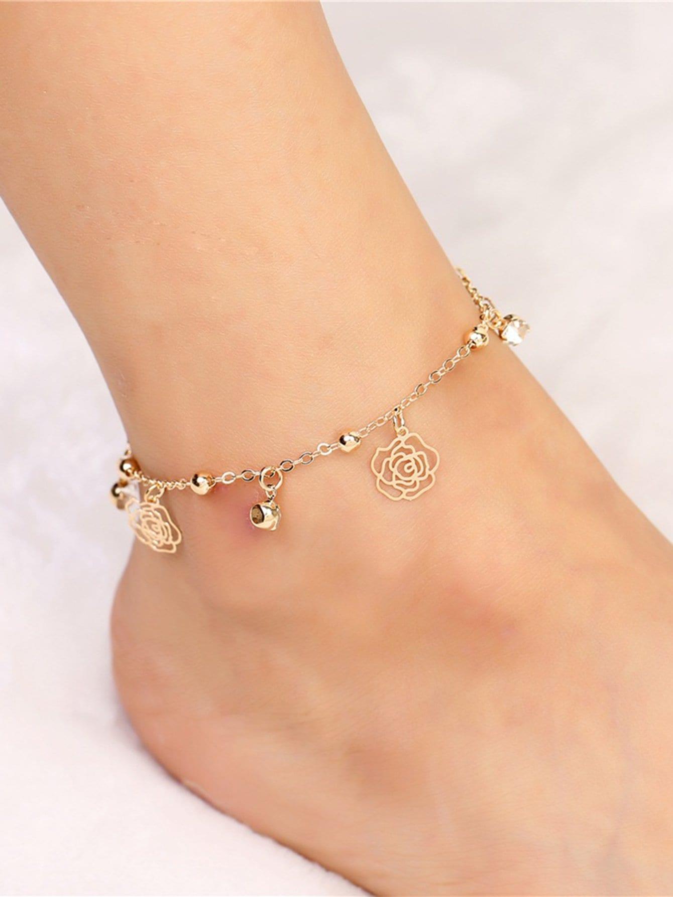 Rose Charm Design Chain Anklet