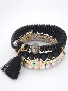 Tassel Detail Beaded Bracelet Set
