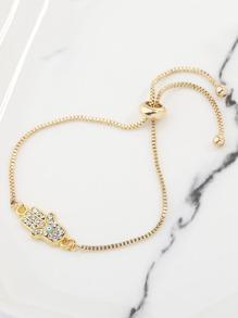 Rhinestone Palm Detail Chain Bracelet