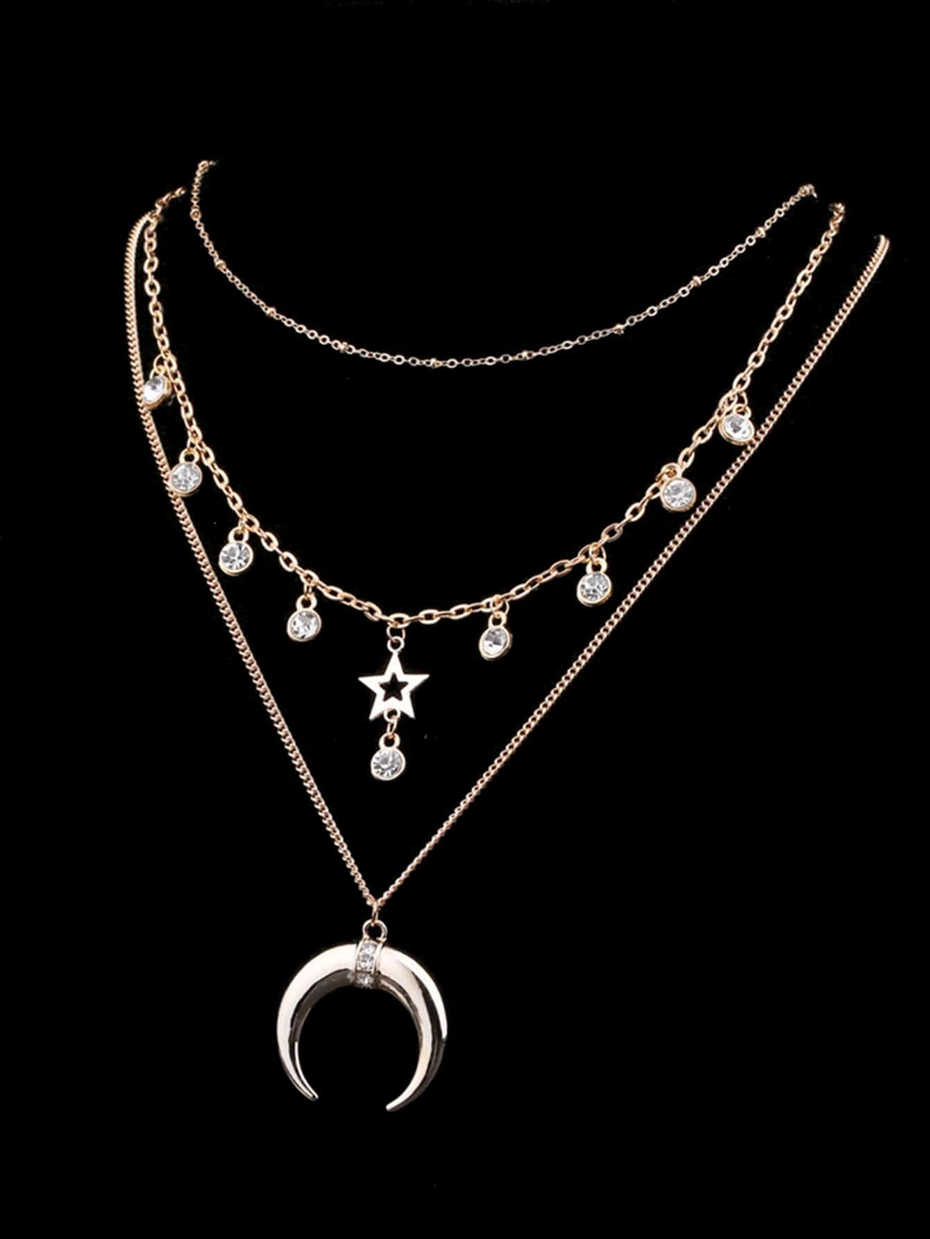 Moon & Star Pendant Layered Chain Necklace