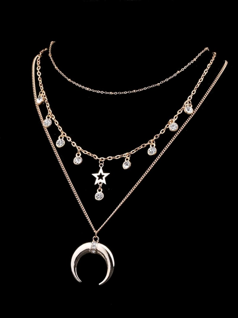 Moon & Star Pendant Layered Chain Necklace, Silver