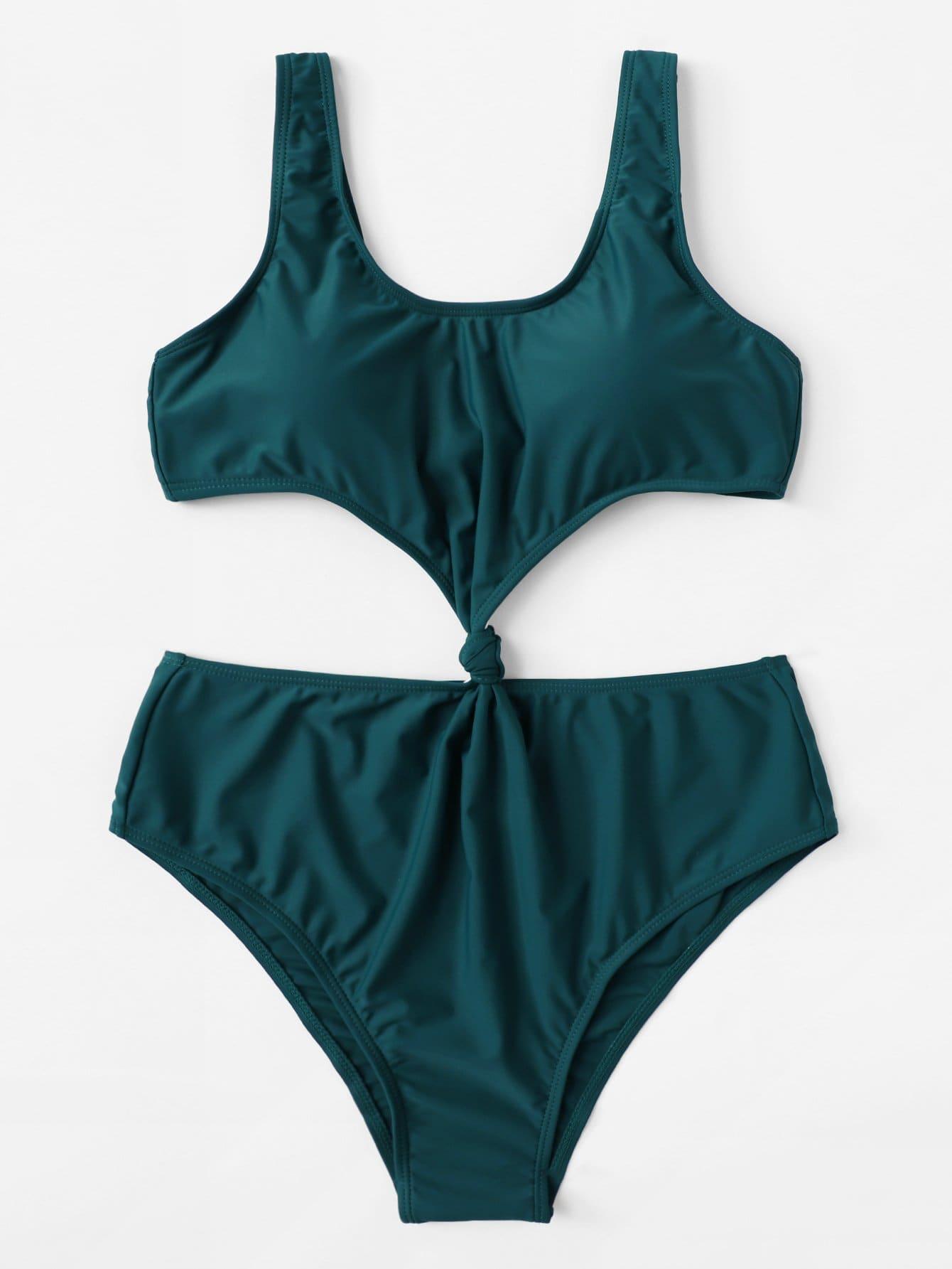 Knot Cut-Out Swimsuit knot cutout high cut swimsuit