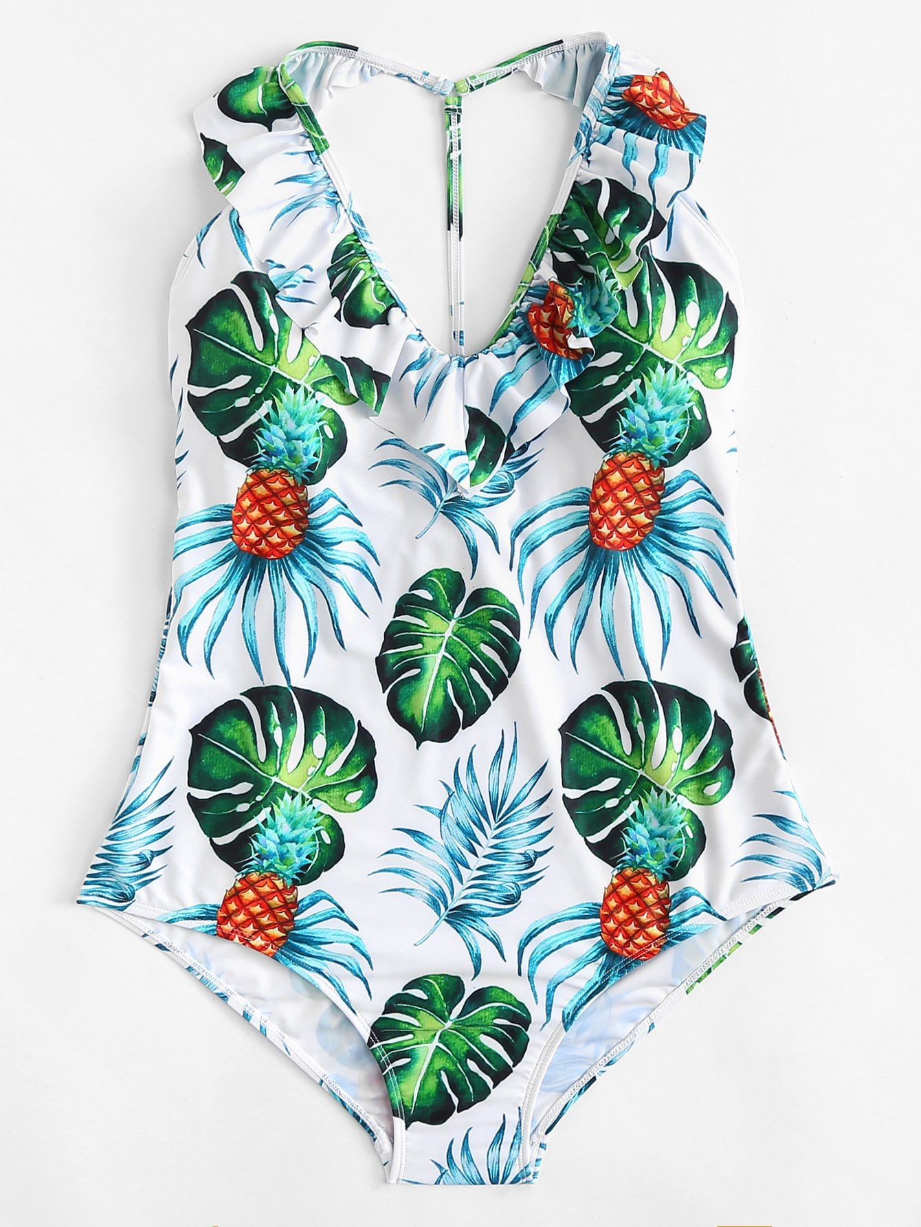 Plus Palm Print Ruffle Swimsuit