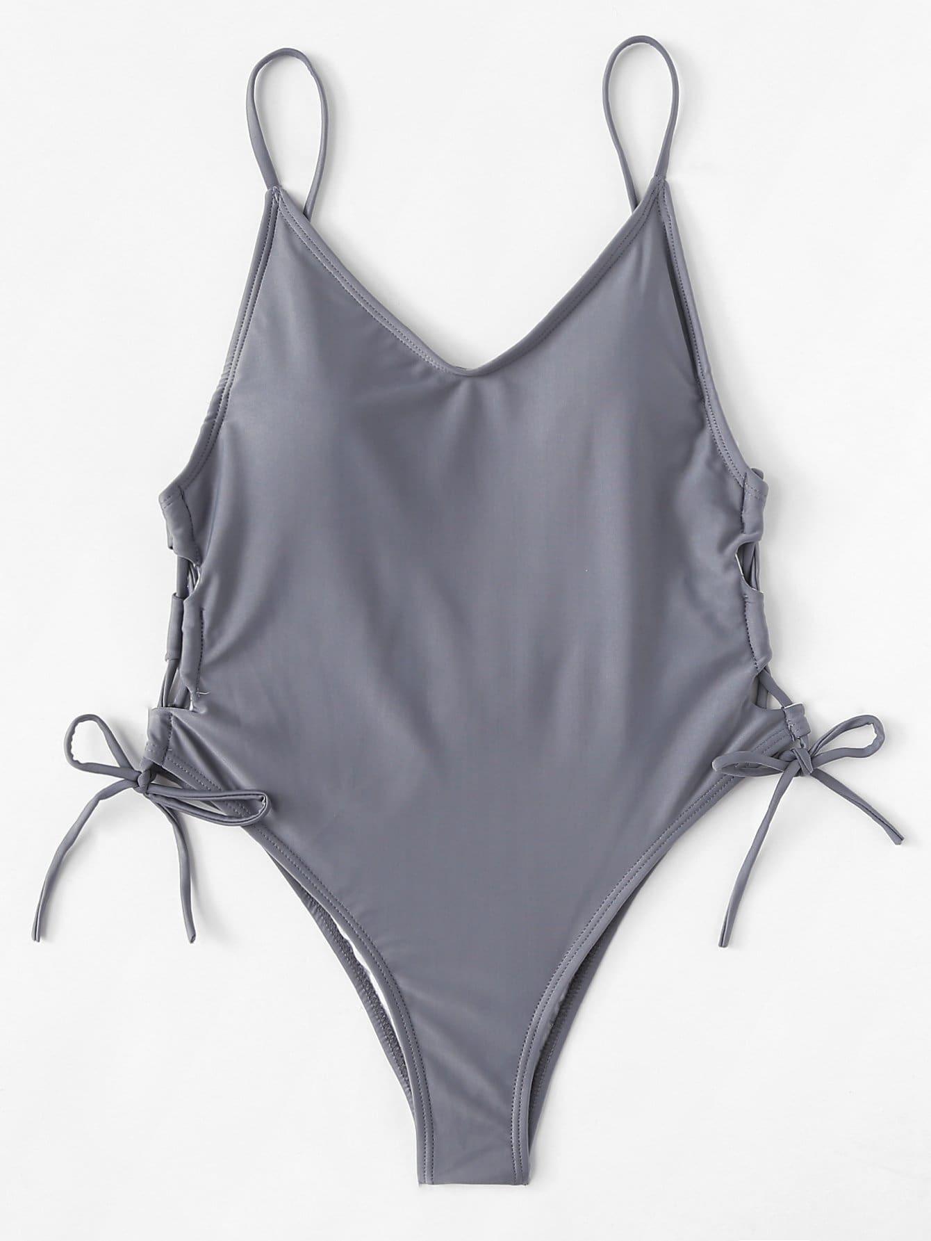 Tie Side Swimsuit tie side two tone swimsuit
