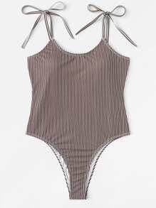 Open Back Striped Swimsuit