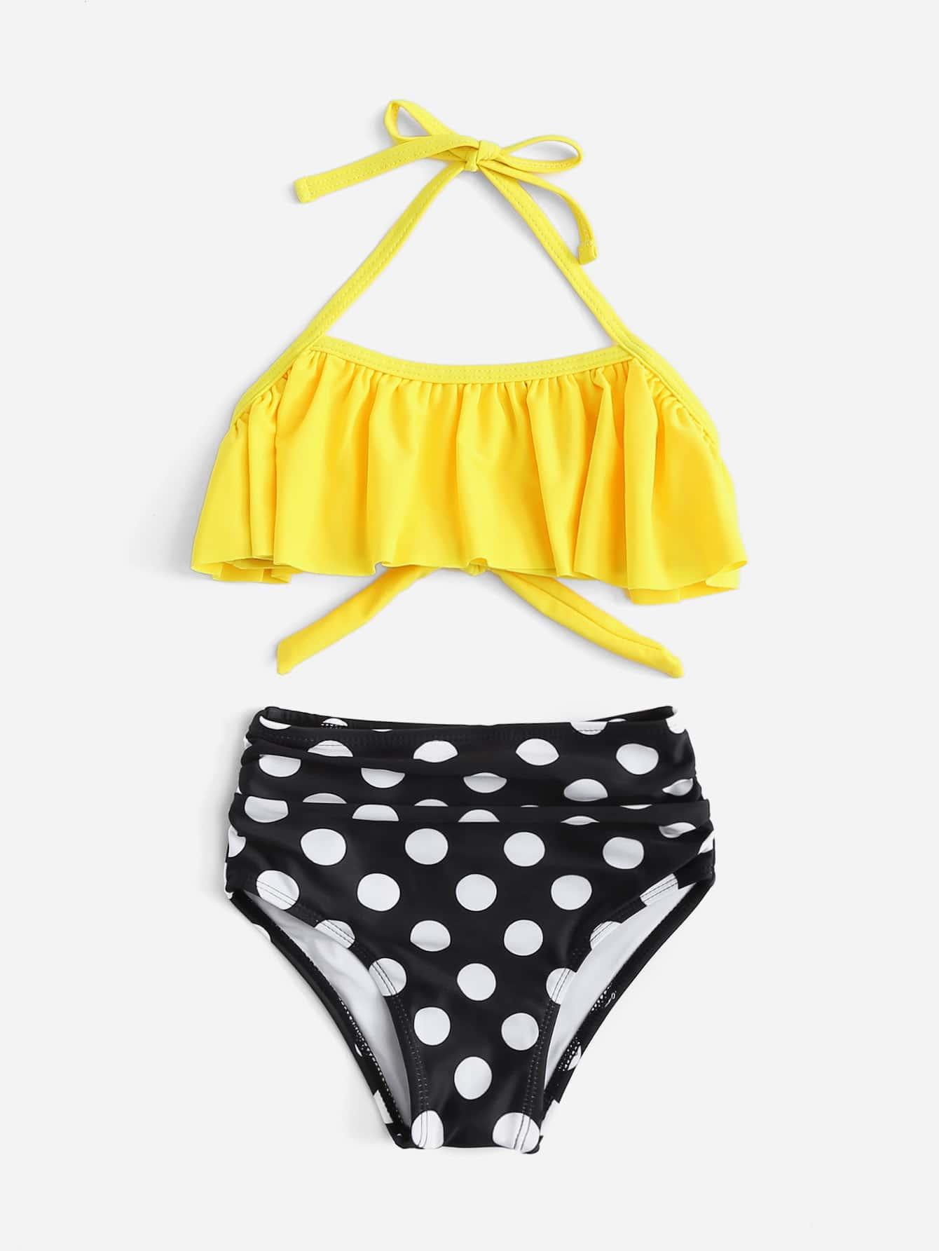 Girls Polka Dot Ruffle Bikini Set floral polka dot bikini set