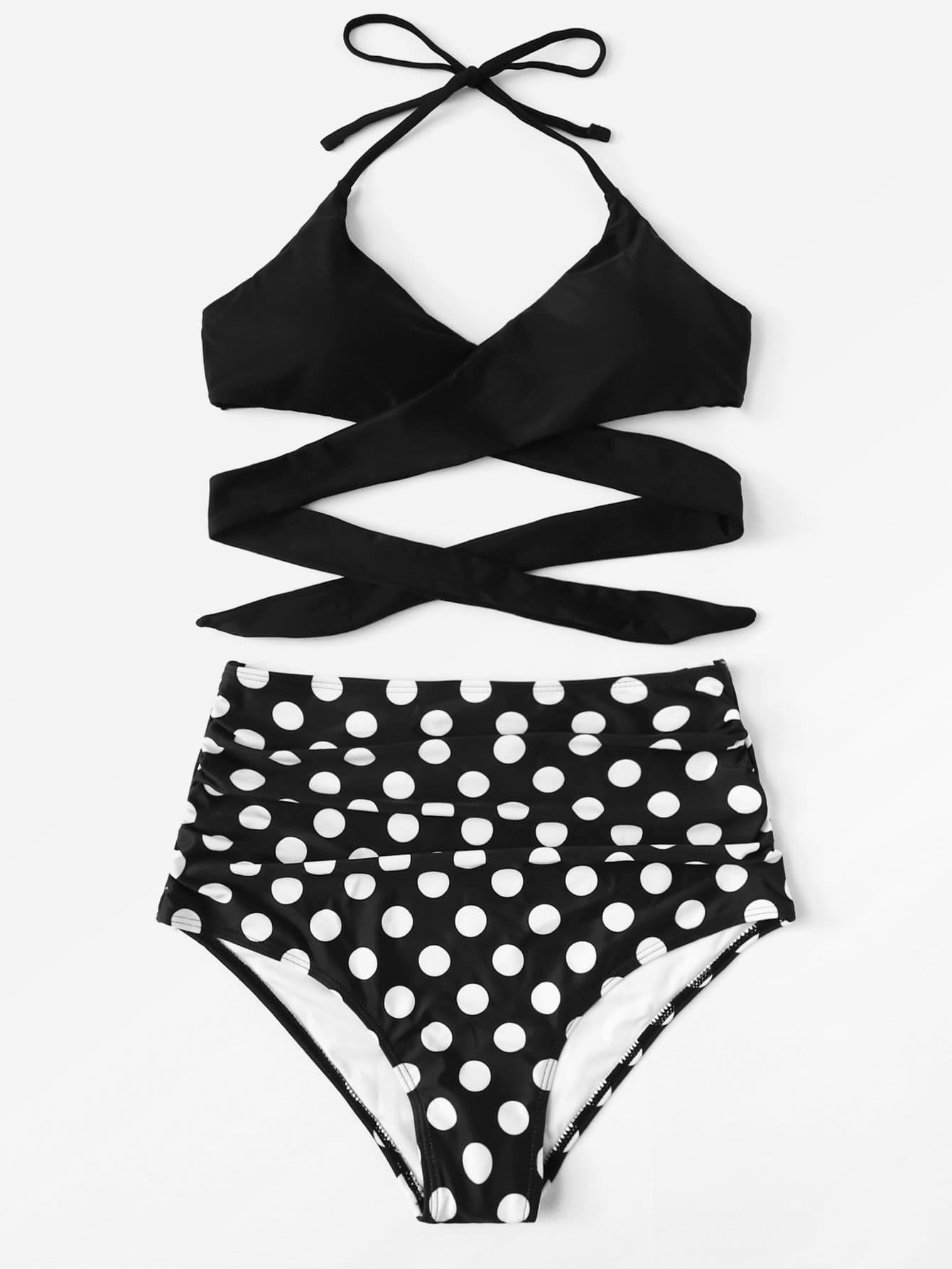 Polka Dot Wrap Bikini Set