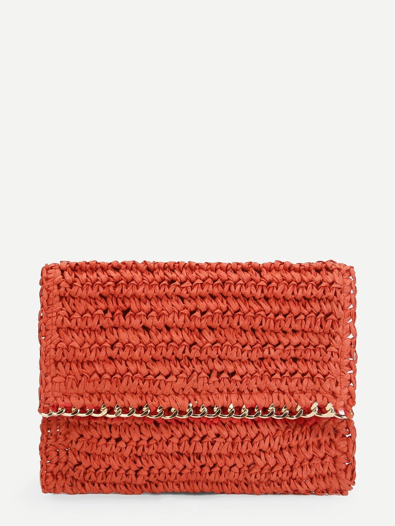 Chain Trim Woven Bag