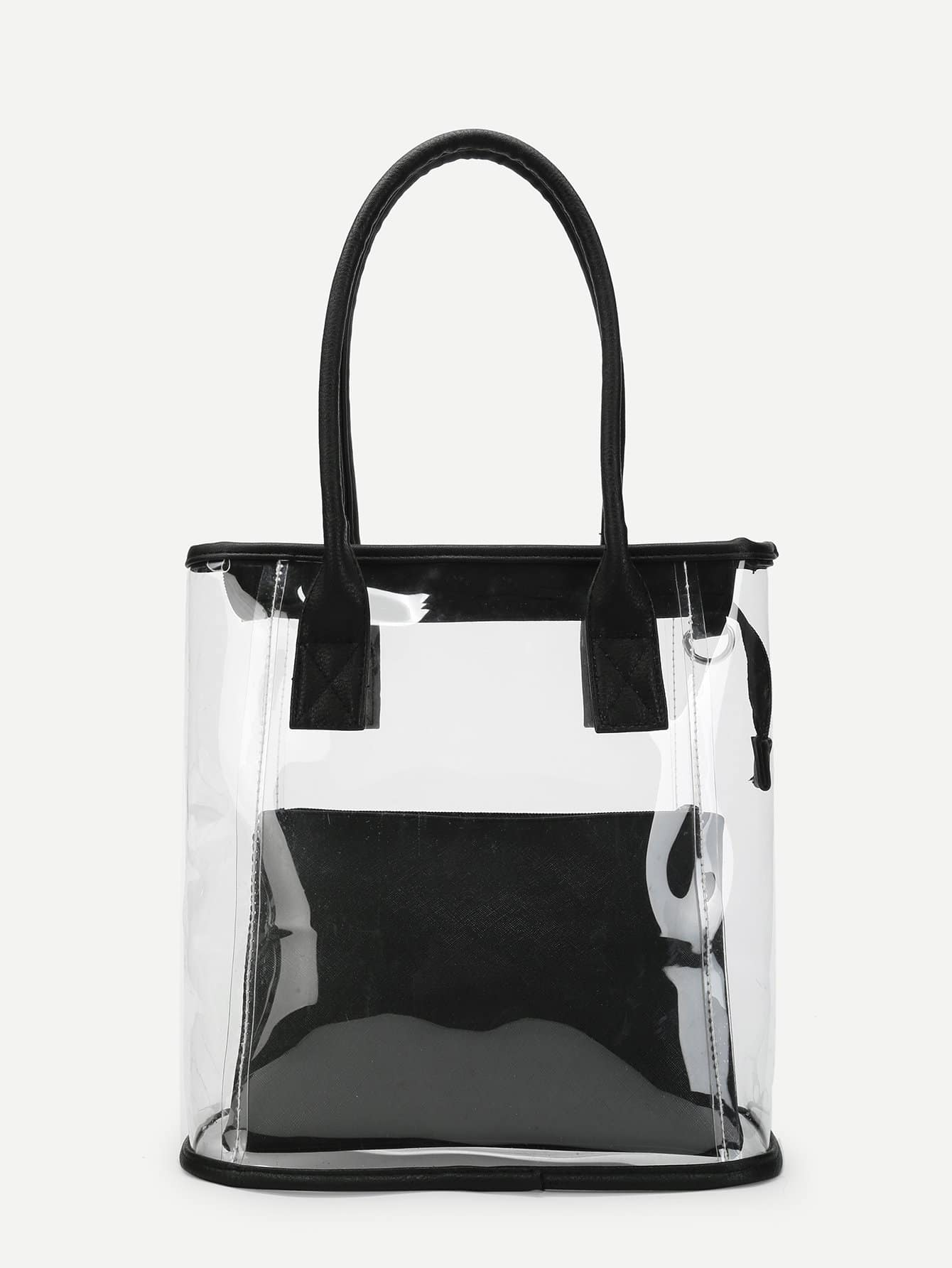 Clear Tote Bag With Inner Pouch clear design chain bag with inner pouch
