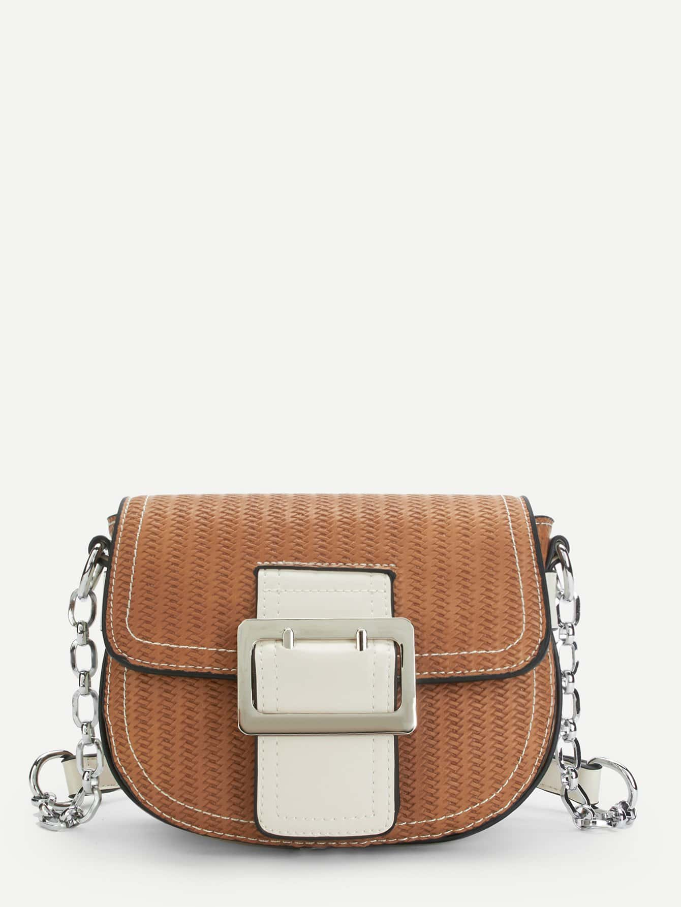 Buckle Front Saddle Chain Bag buckle front clear chain bag