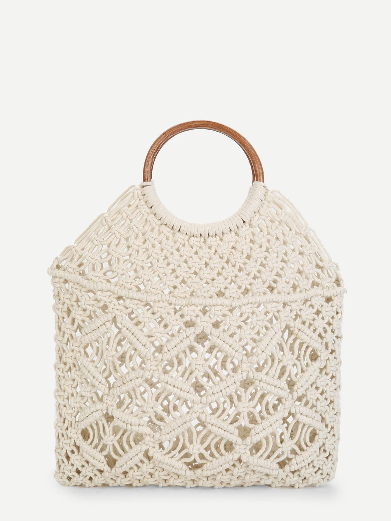 Woven Tote Bag With Ring Handle woven bag with double handle
