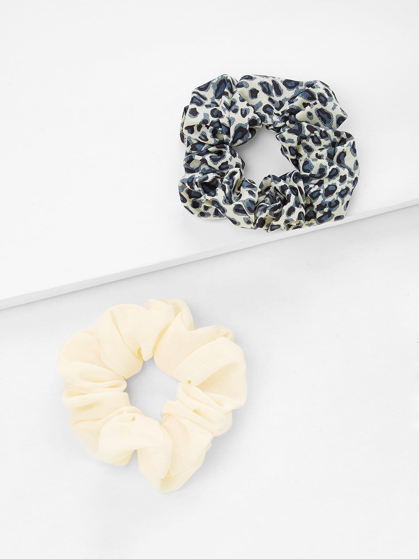 Leopard & Plain Hair Tie Set 2Pcs metallic hair tie 2pcs