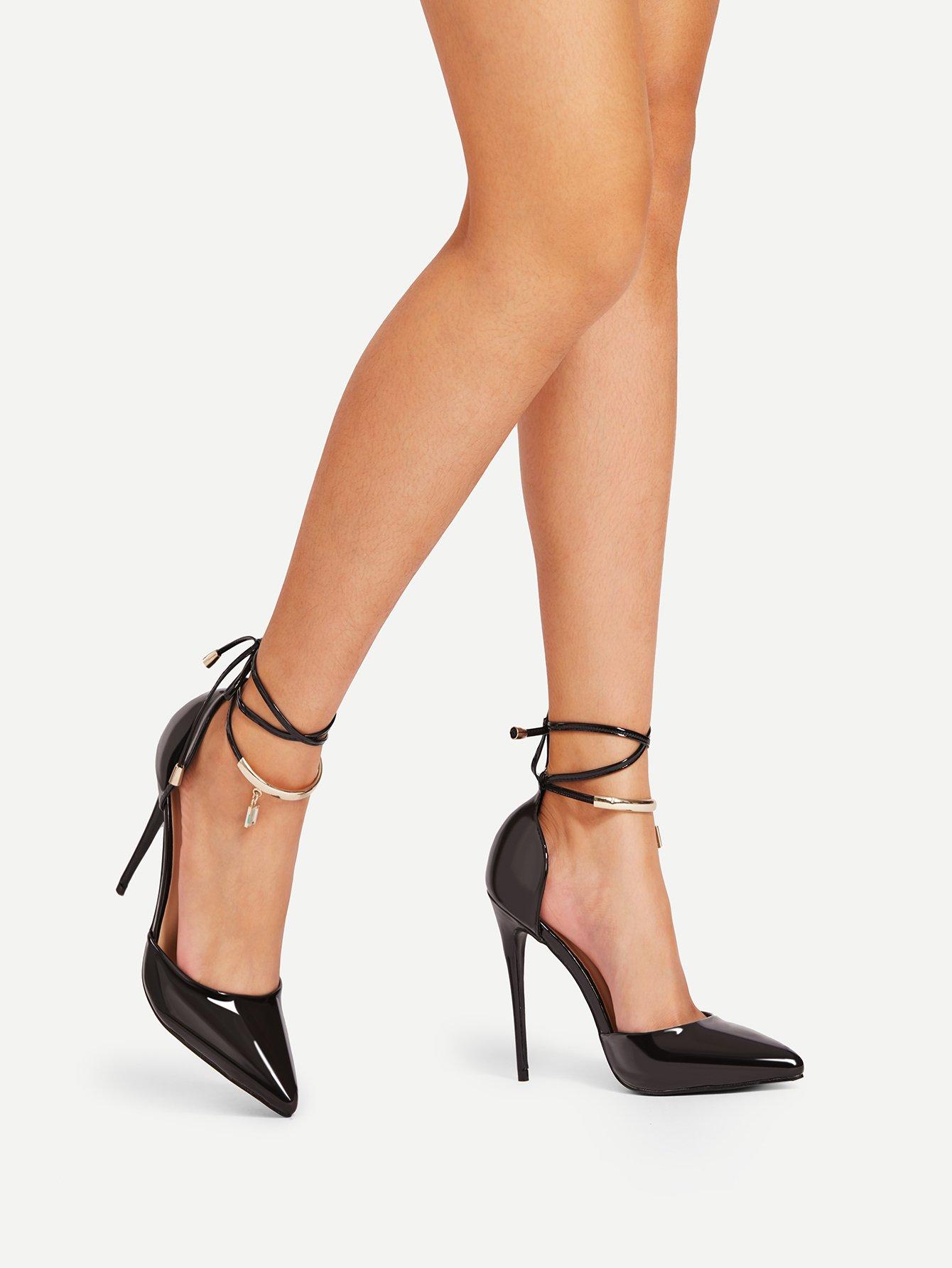 Pointed Toe Tie Leg Stiletto Heels pointed toe tie leg flats