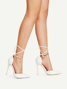 Pointed Toe Tie Leg Stiletto Heels