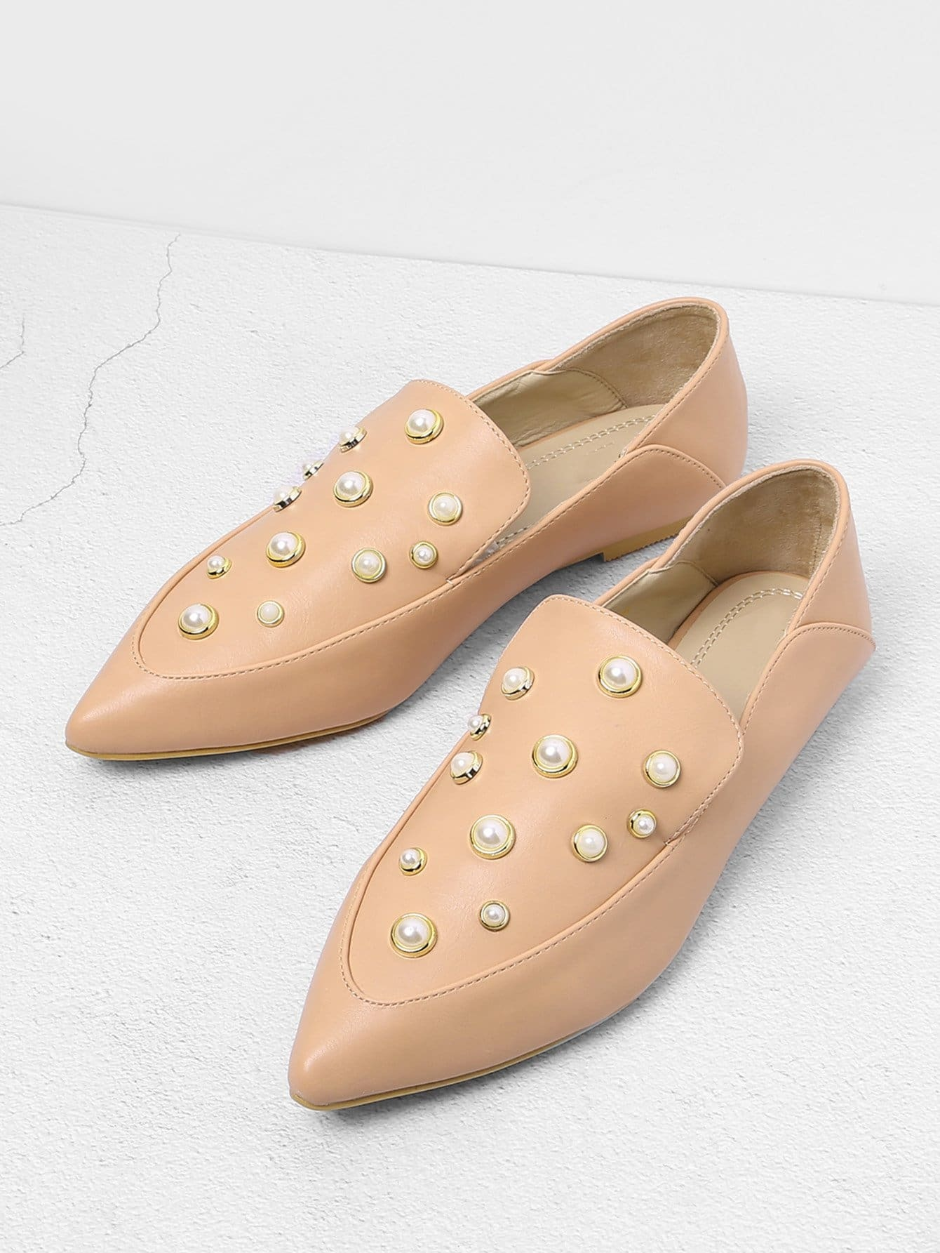 Pointed Toe PU Flats With Faux Pearl pointed toe faux leather flats