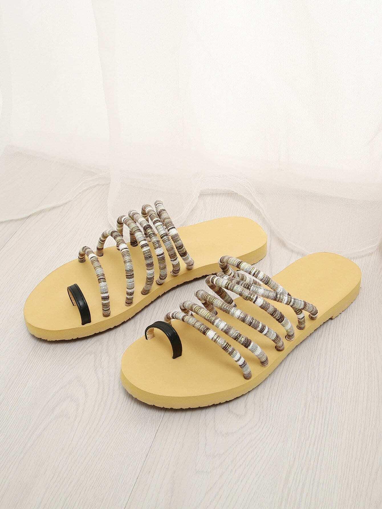 Купить Плоские сандалии с пальцами ног, null, SheIn