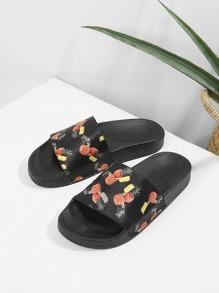 Pineapple Print Flat Sliders