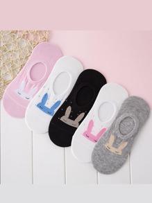 Rabbit Pattern Invisible Socks 5Pairs