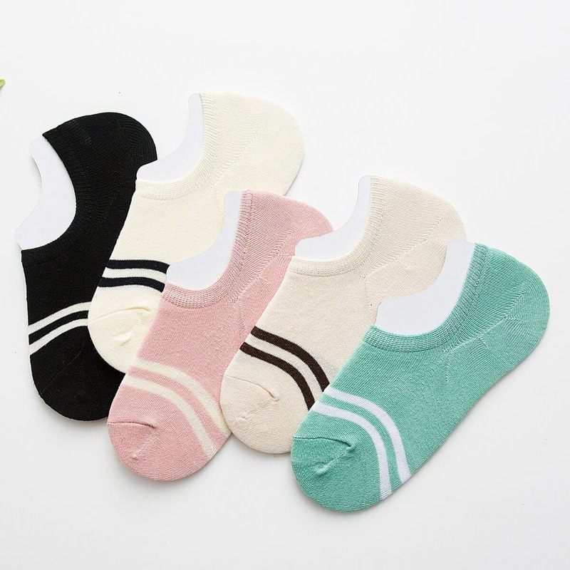 Striped Detail Invisible Socks 5Pairs, Multicolor