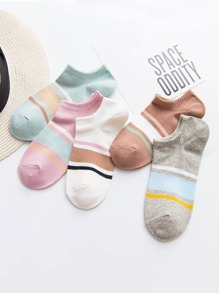 Color Block Invisible Socks 5Pairs