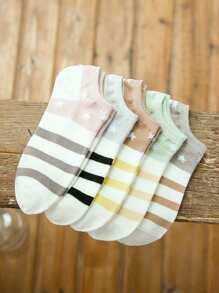 Star Pattern Invisible Socks 5Pairs