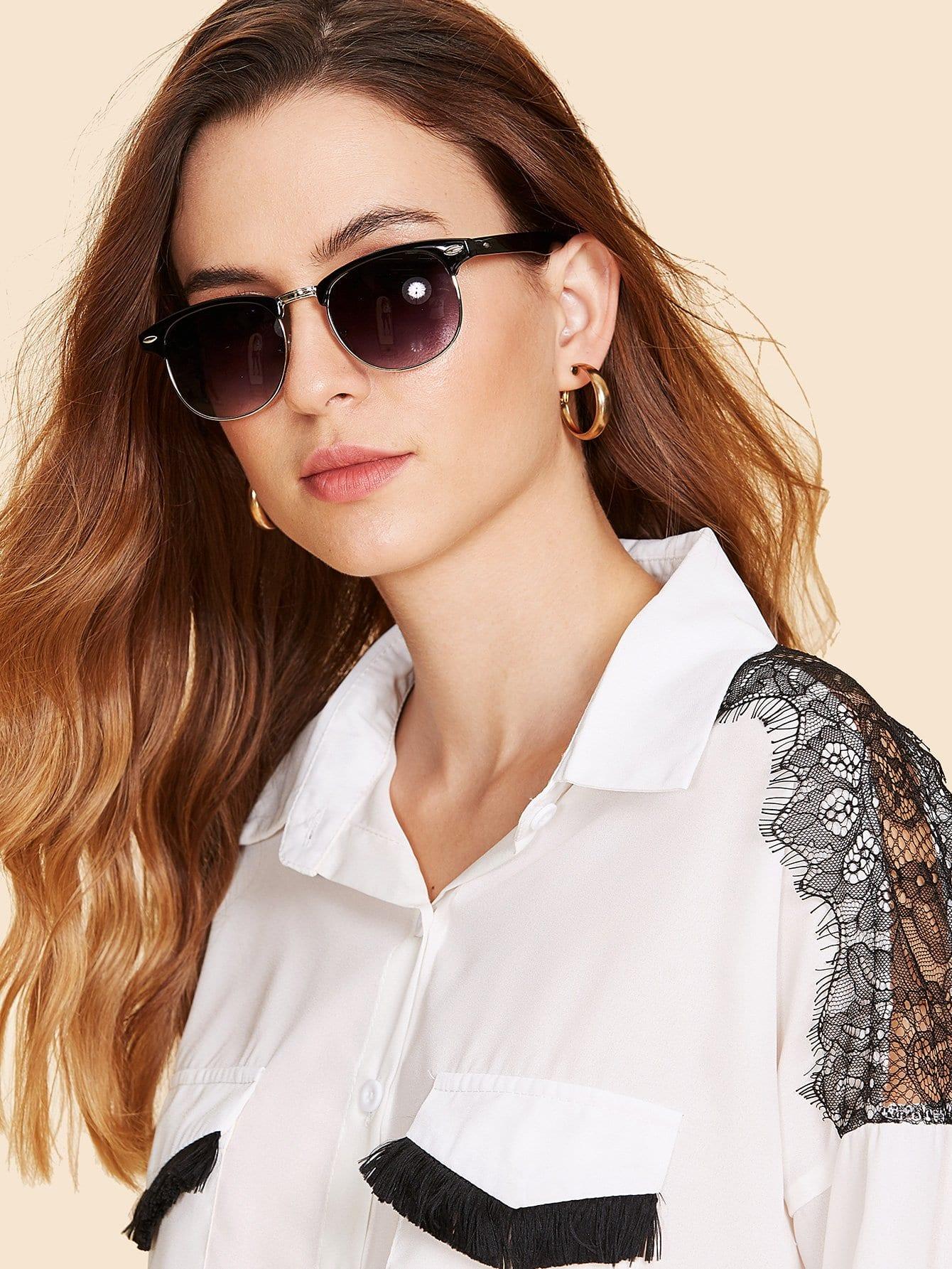 Mirror Lens Sunglasses triangle design mirror lens sunglasses