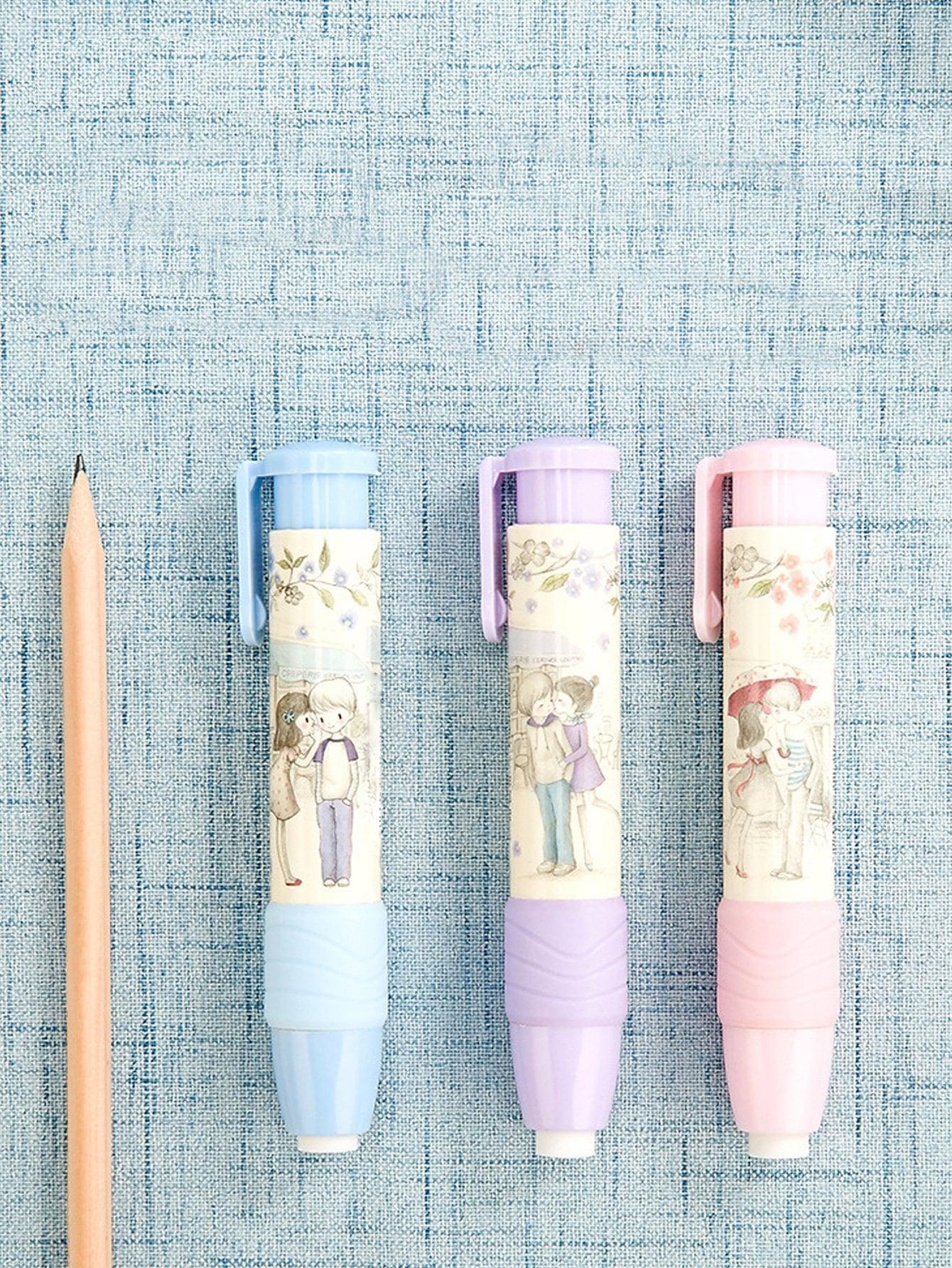 Random Color Retractable Eraser Pen 1pc random color eraser 1pc