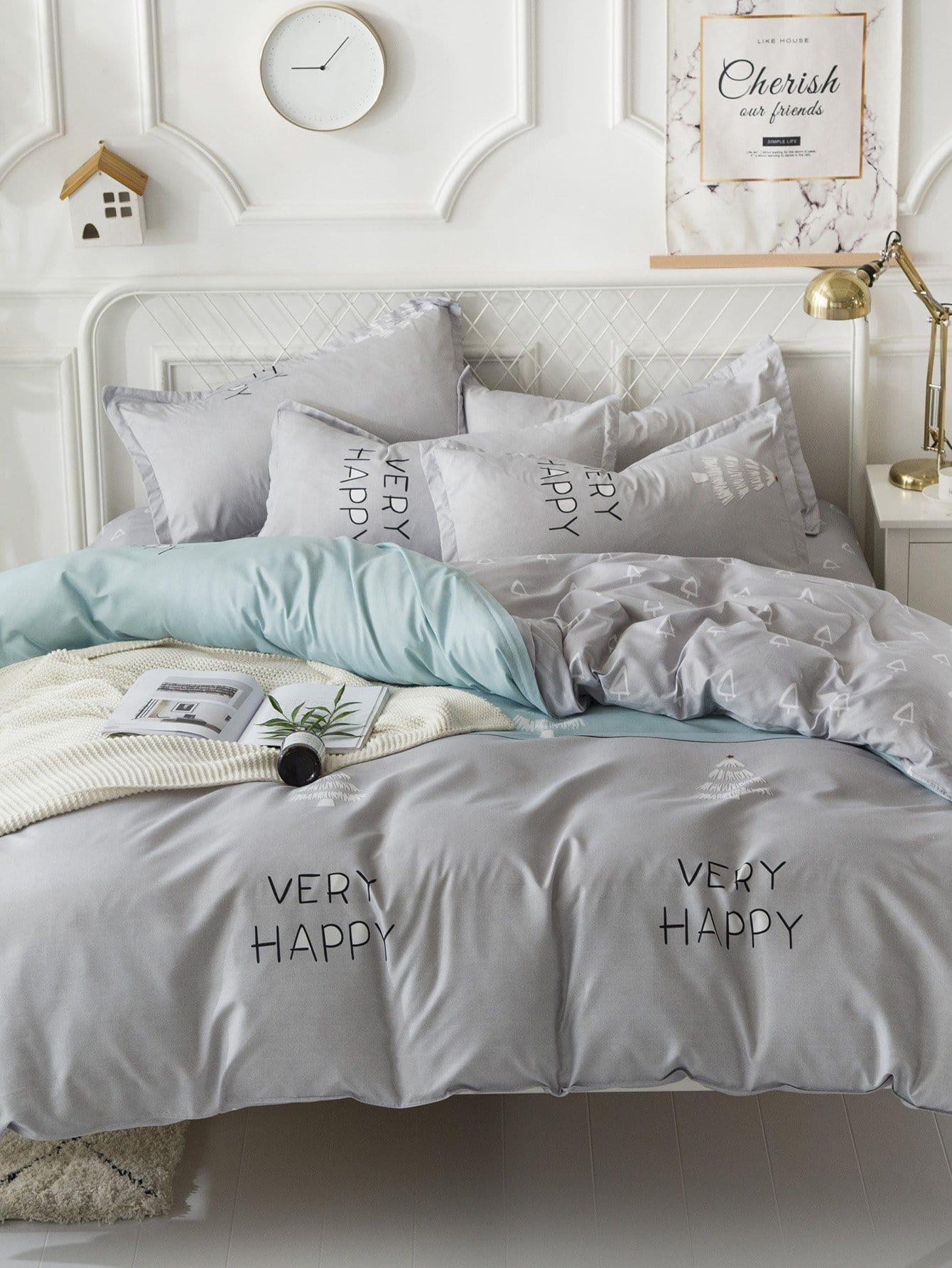 Купить Комплект постельного белья надпись и растения, null, SheIn