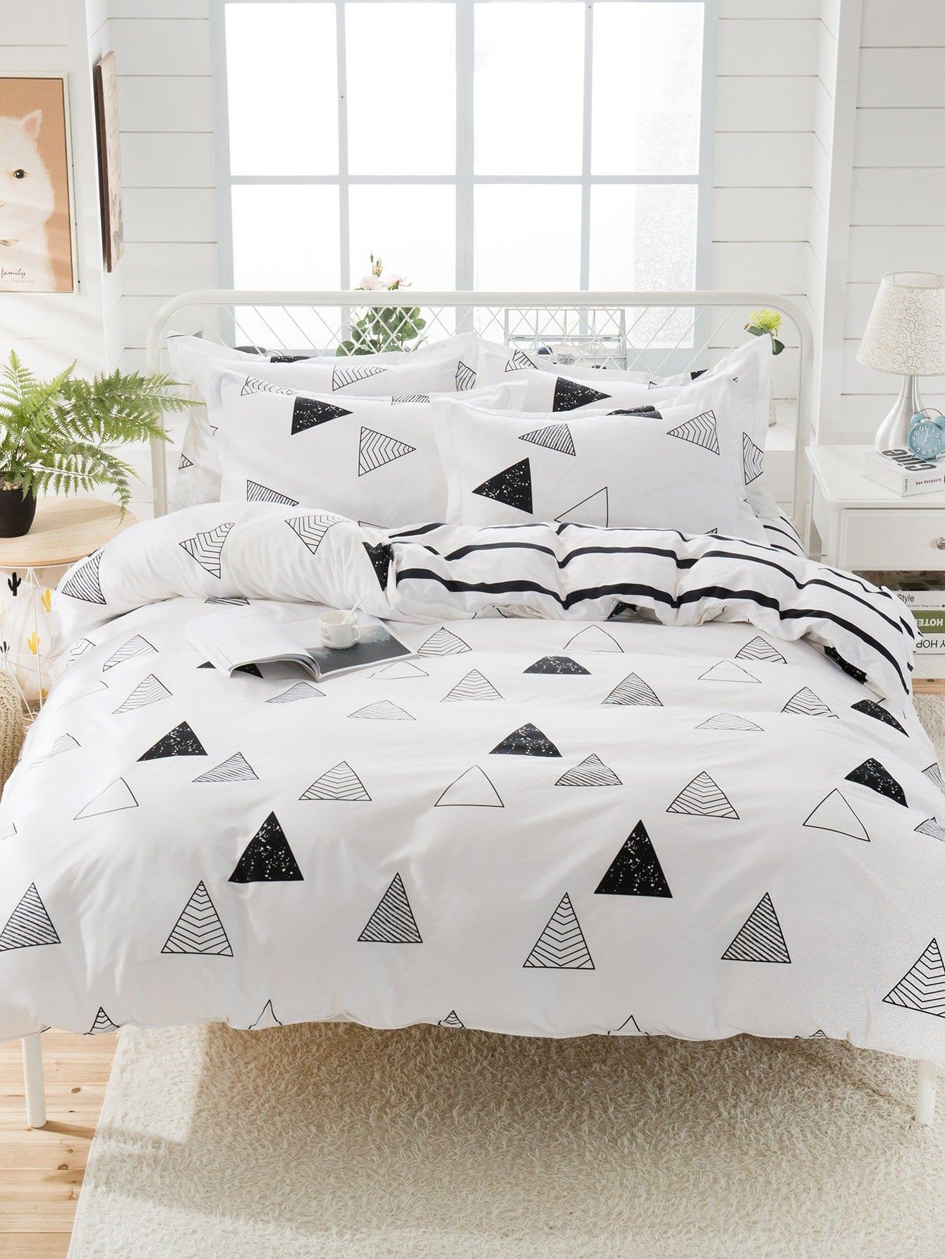 Купить Комплект постельного белья геометрический принт и полоски, null, SheIn