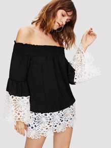 Off-Shoulder Lace Panel Top