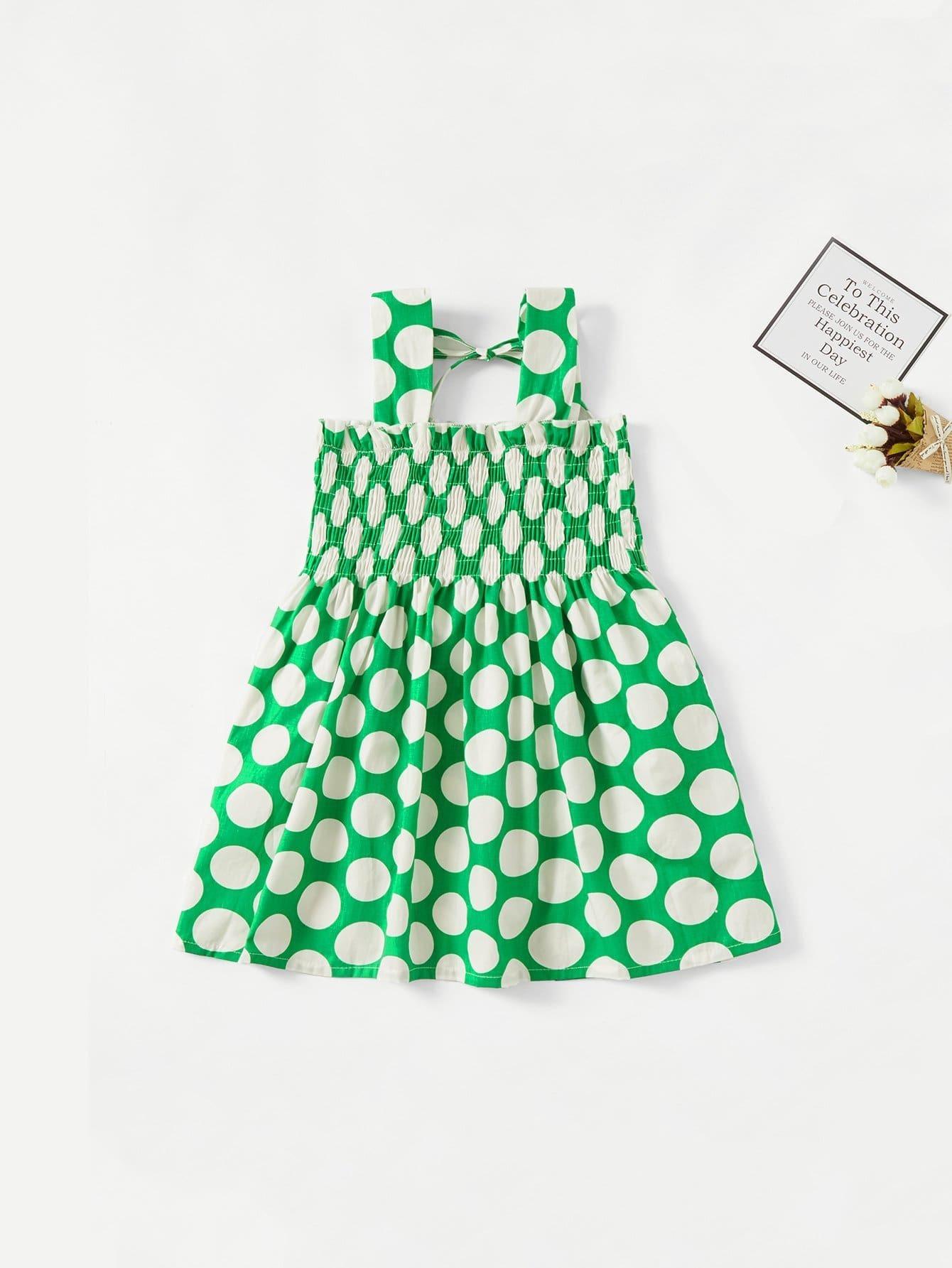 Girls Frill Trim Polka Dot Dress girls floral embroidery frill trim dress
