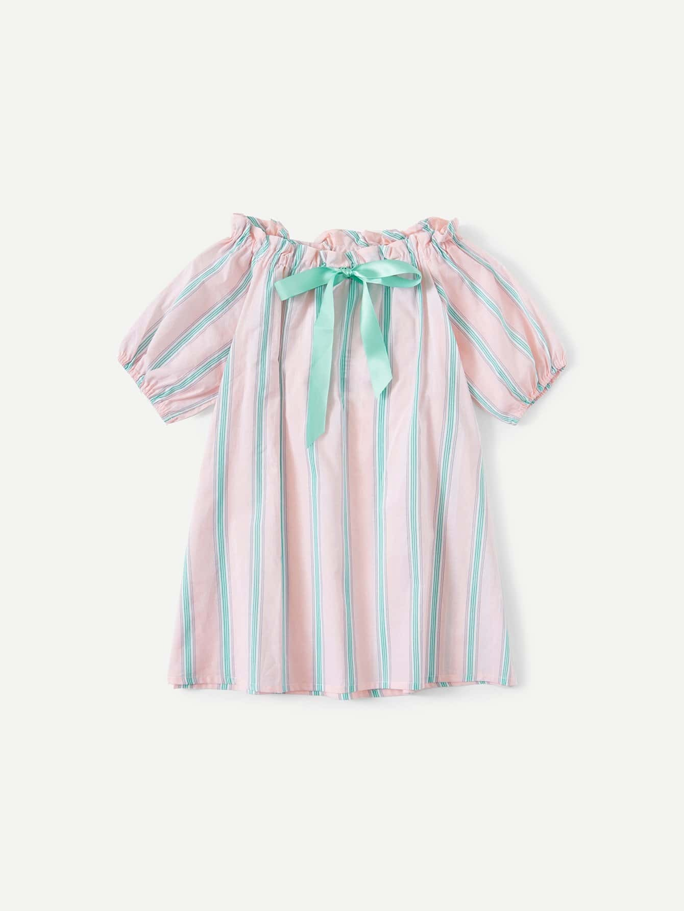 Girls Knot Front Striped Dress
