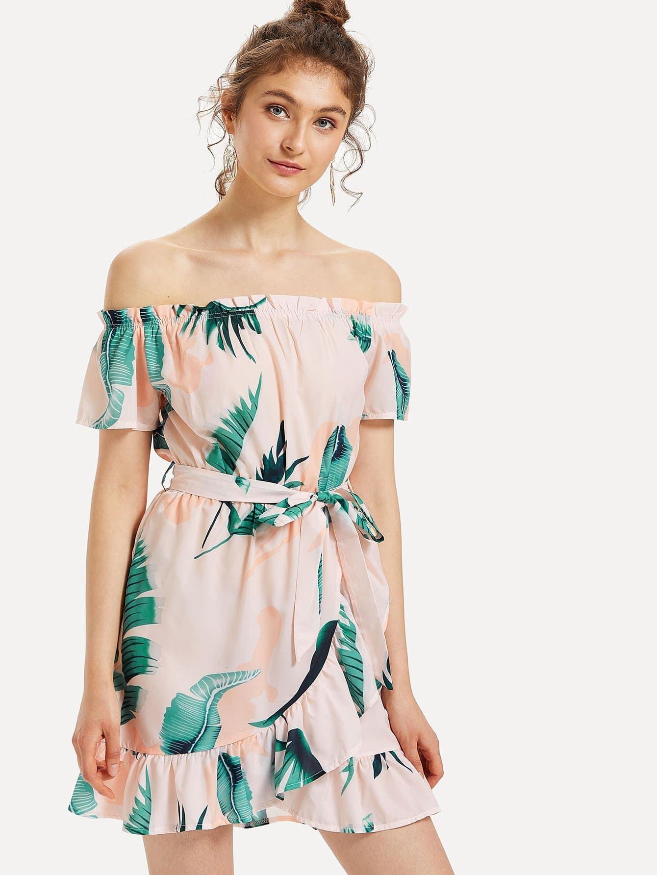 Off-Shoulder Frill Trim Floral Dress sweet off the shoulder floral dress for women