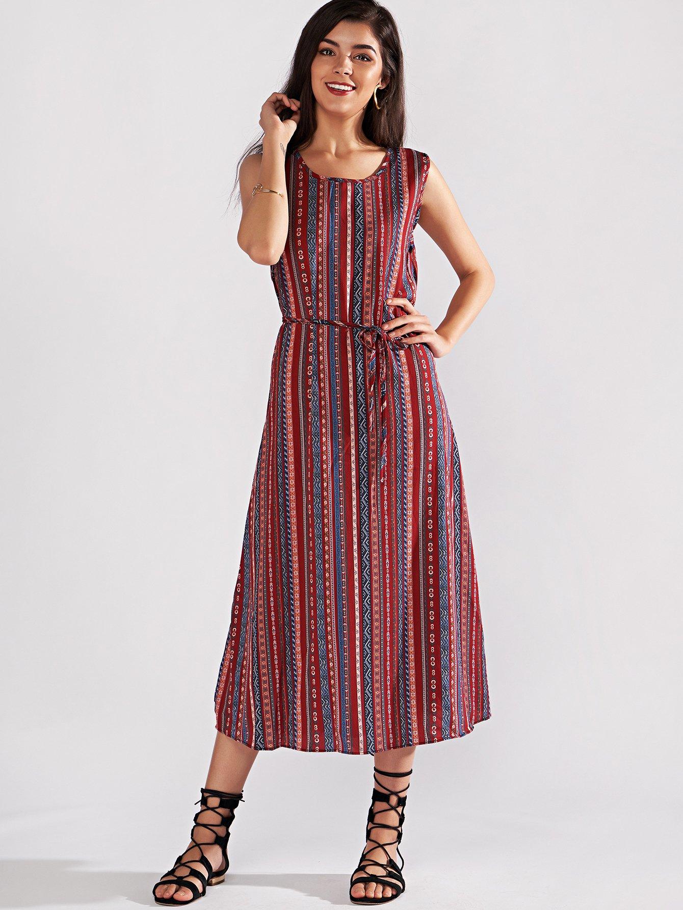 Random Print Belted Dress random flower print dress