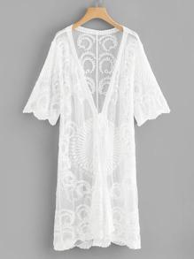 Lace Embroidery Self Tie Kimono