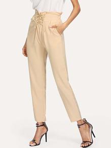 Frill Trim Lace-Up Pants