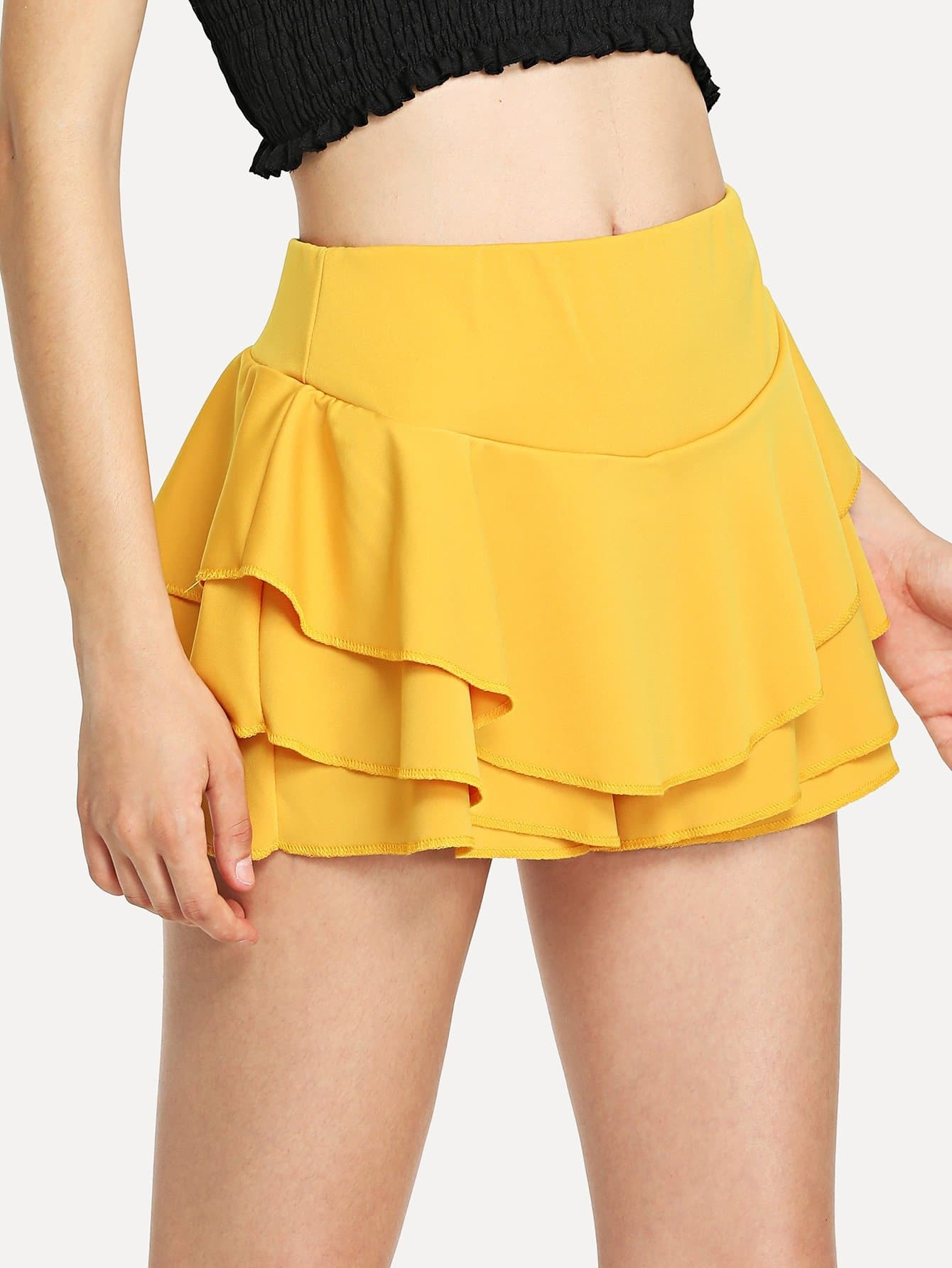 Tiered Layer Solid Shorts
