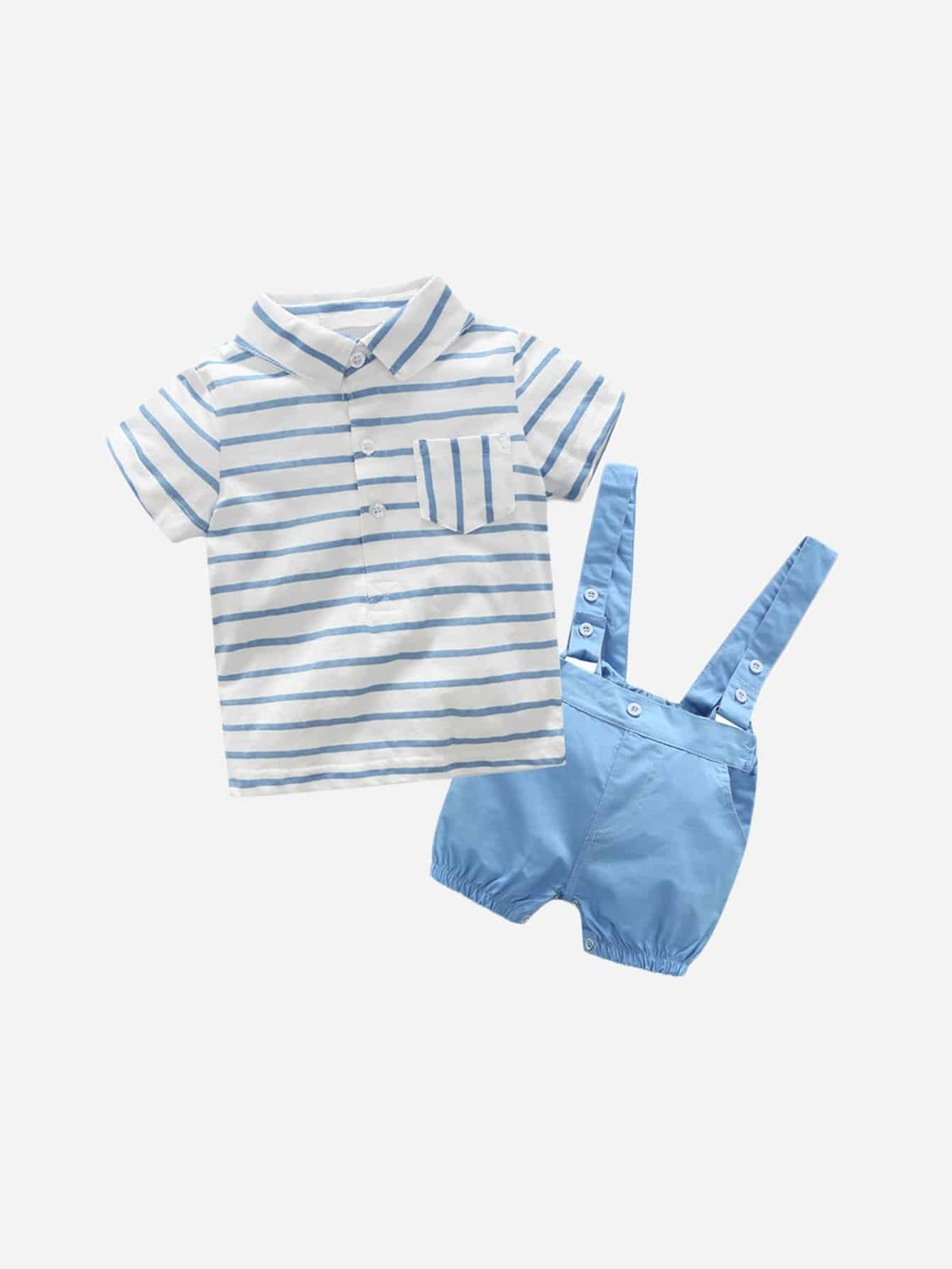 Boys Pocket Front Striped Top With Shorts striped front pocket tank top