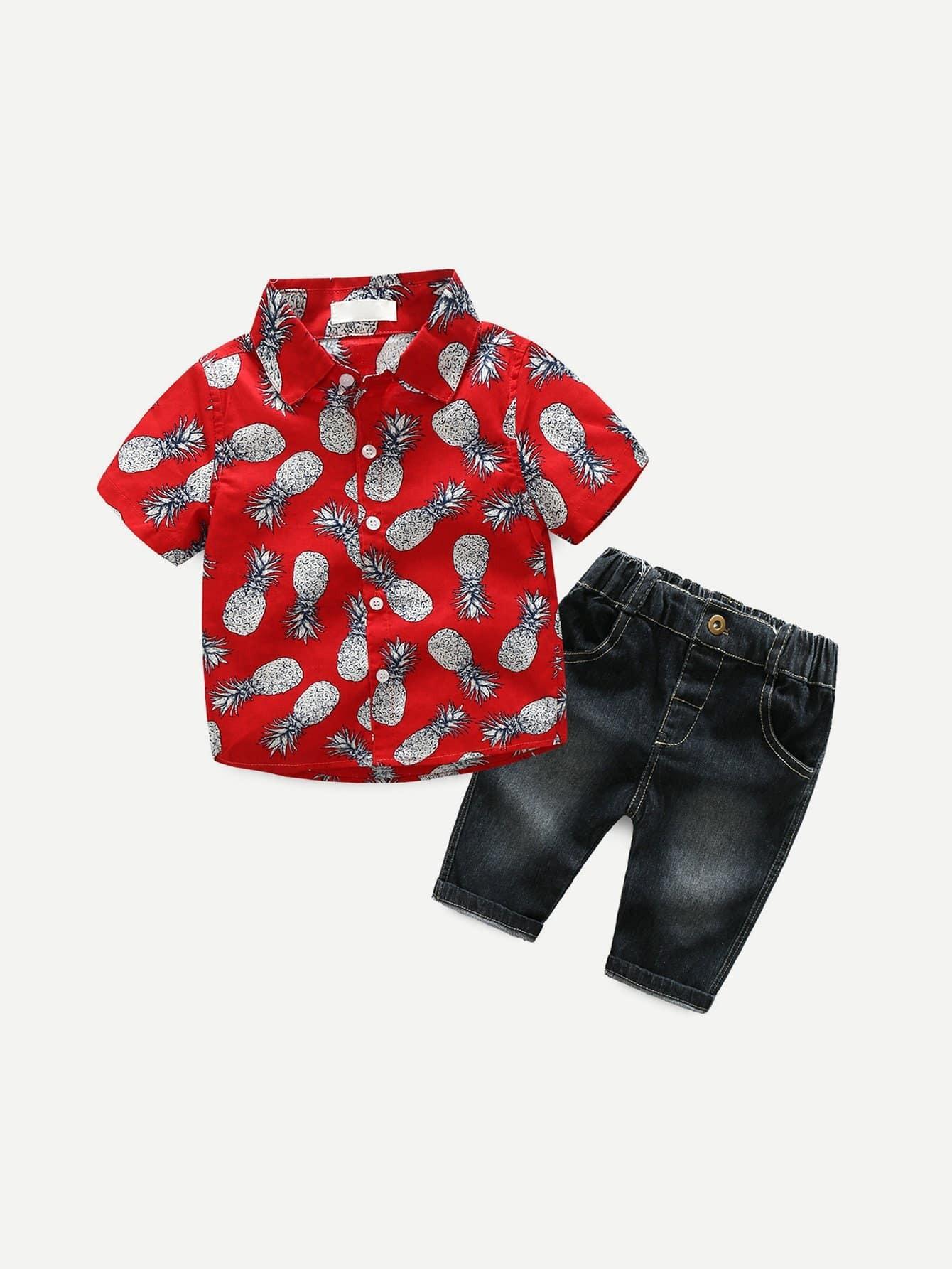 Boys Pineapple Print Shirt With Pants boys star print top with pants
