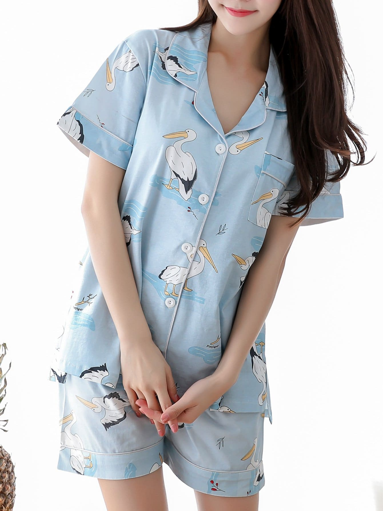 Crane Print Button Up Pajama Set