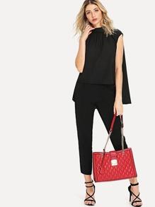 Quilted Design PU Shoulder Bag
