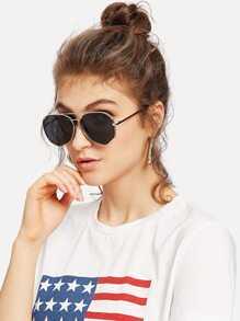 Two Bridge Metal Frame Sunglasses