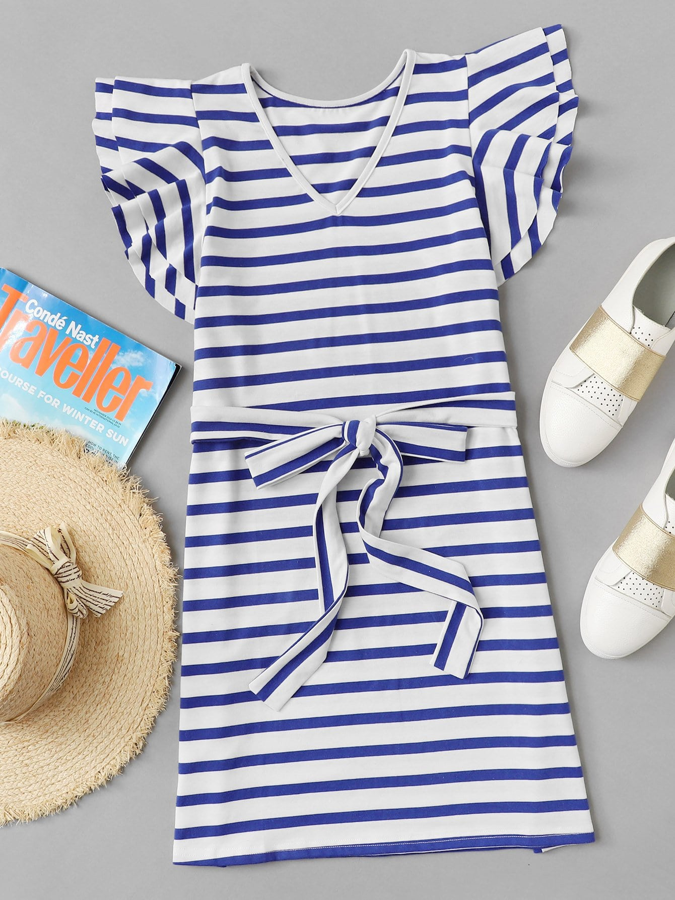 Knot Waist Tiered Sleeve Striped Dress