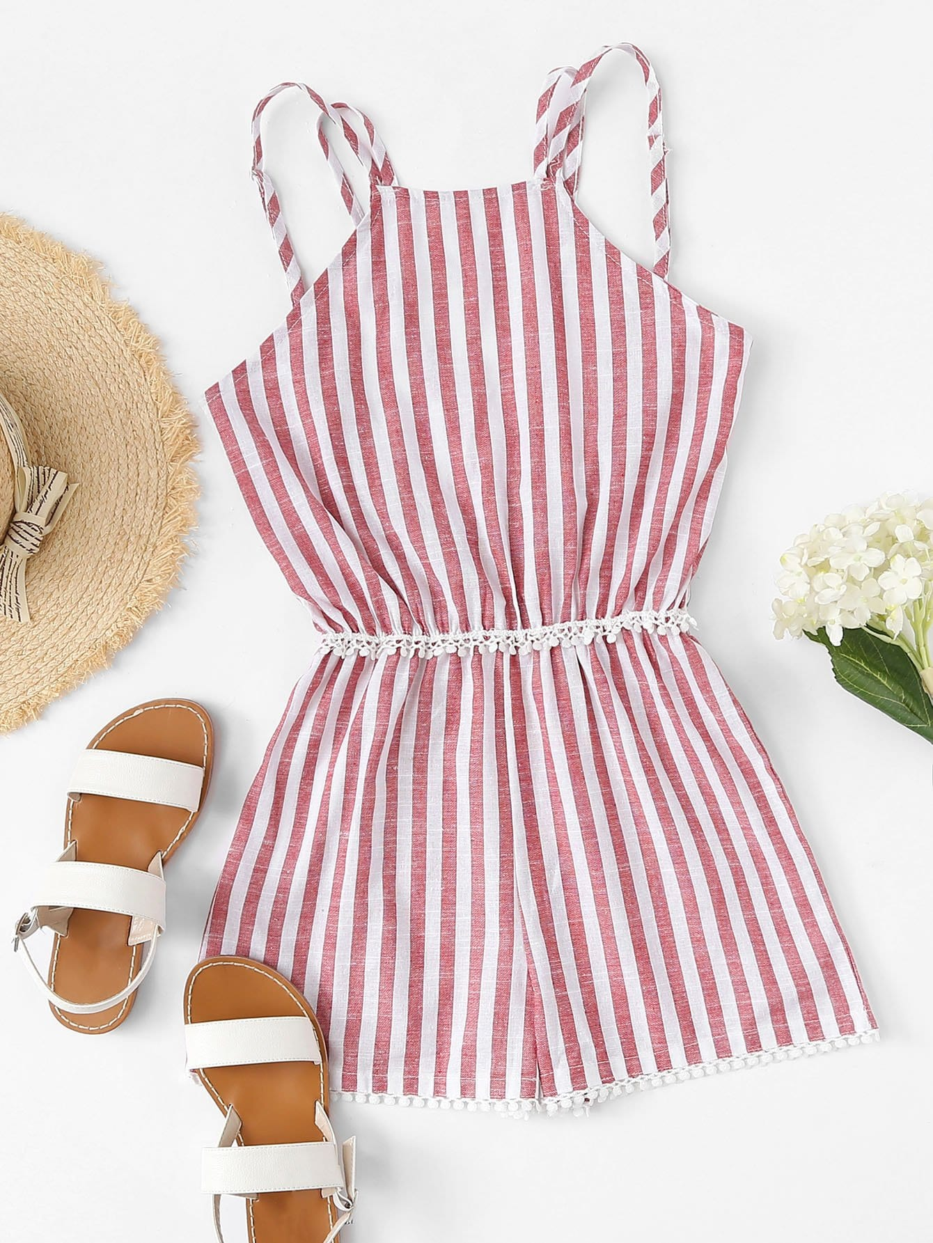 Striped Contrast Lace Cami Romper